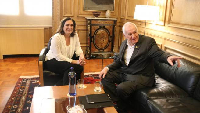 Ada Colau i Ernest Maragall se reunen pera hablar de los presupuestos en el Ajuntament de Barcelona.