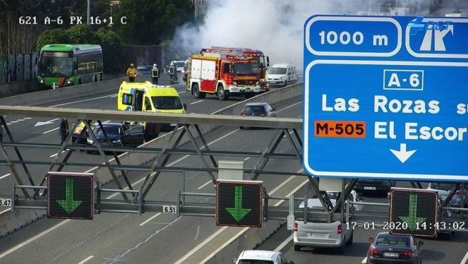 Accidente en el kilómetro 16 de la A6 en dirección a Madrid