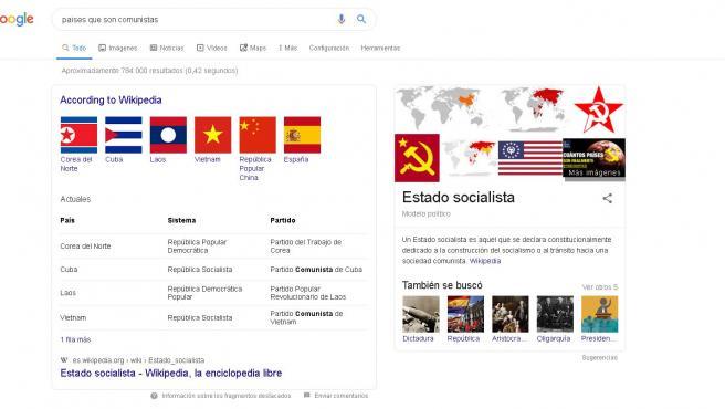España, país comunista según Google, que cita a la Wikipedia.