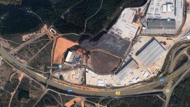 Vista aérea de la autovía A-6 en el kilómetro 483, a la altura del término municipal de O Corgo (Lugo).