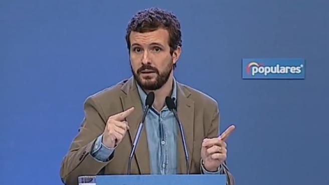 Pablo Casado en el acto en Murcia
