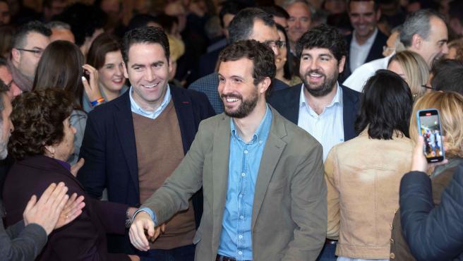 Pablo Casado en el acto del PP en Murcia