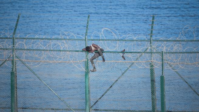 un migrante saltando la doble valla de Ceuta
