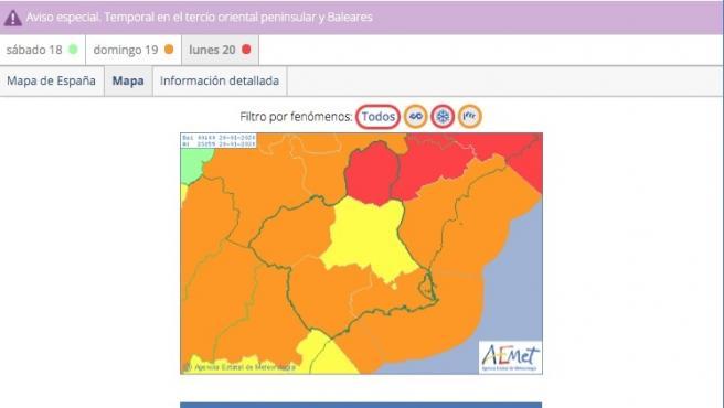 Meteorología actualiza sus avisos de fenómenos adversos y ahora advierte también de lluvias de hasta 60 l/m2