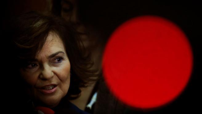 Carmen Calvo, antes de presidir la reunión extraordinaria de la Comisión General de Secretarios de Estado y Subsecretarios.