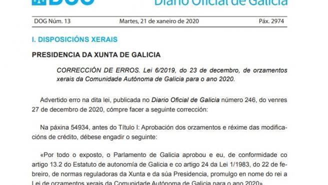 Captura de pantalla de una corrección de errores publicada en el Diario Oficial de Galicia (DOG) el martes 21 de enero.
