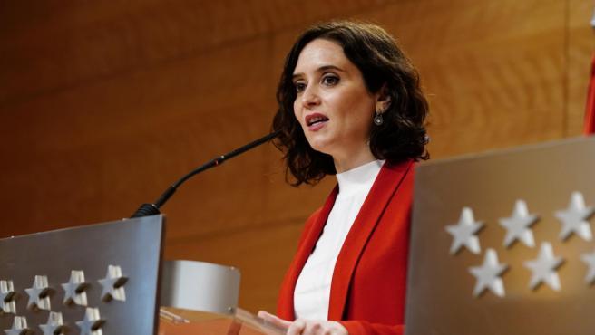 La presidenta madrileña, Isabel Díaz Ayuso, durante la rueda de prensa posterior a la Junta de Gobierno.