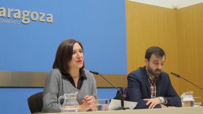 La vicealcaldesa de Zaragoza, Sara Fernández, durante la presentación del programa festivo de San Valero