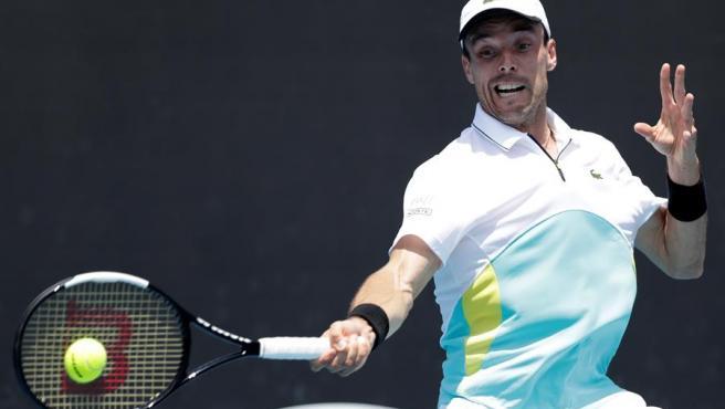 Roberto Bautista, durante su partido contra Feliciano López en el Abierto de Australia, en Melbourne.