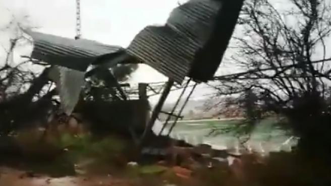 El campo del Vilamarxant, destrozado por el temporal.
