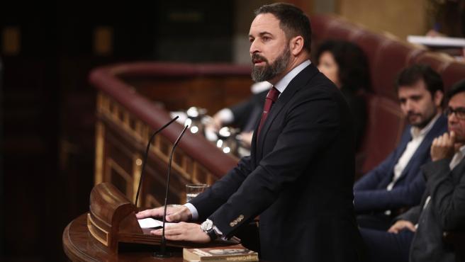 El presidente de VOX, Santiago Abascal, durante su intervención en la segunda sesión de votación para la investidura del candidato socialista para la Presidencia del Gobierno, en Madrid (España), a 7 de enero de 2020.