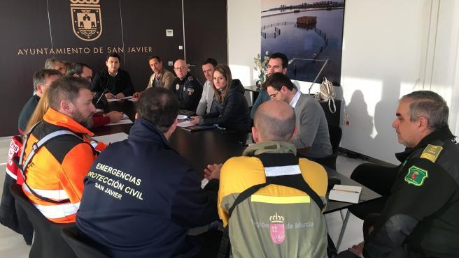 Imagen de la reunión de valoración del temporal en el municipio