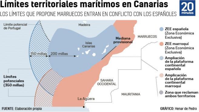 Recreación ficticia de cómo quedarían las fronteras marítimas de cada país.