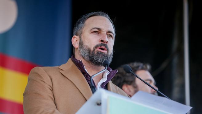 El presidente de Vox, Santiago Abascal, durante la concentración convocada por la plataforma 'España Existe' frente al Ayuntamiento de la capital, en Madrid (España) a 12 de enero de 2020.
