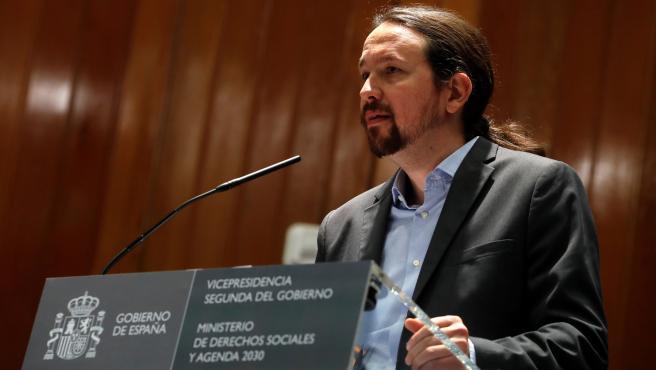 El vicepresidente segundo, Pablo Iglesias, durante su intervención en la toma de posesión de altos cargos.