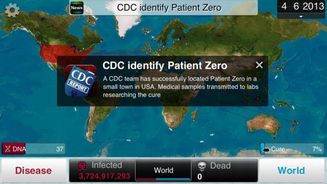 El juego comienza cuando la CDC identifica al 'paciente cero' de tu enfermedad.