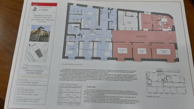 Plano de la planta baja de la 'Casa Paquet'