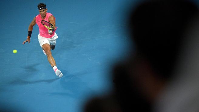 Rafa Nadal, en su partido del Open de Australia ante Delbonis.