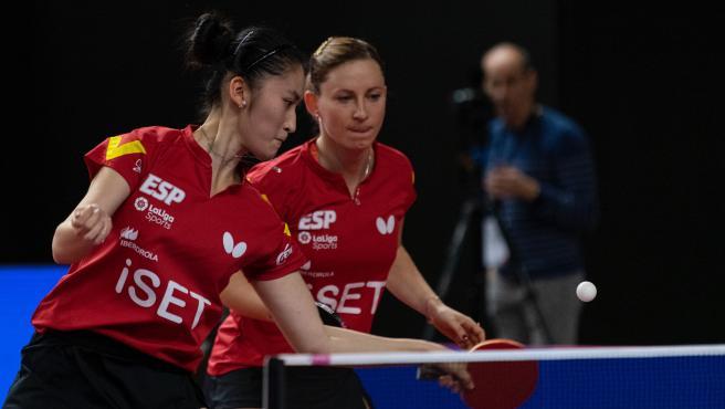 Jugadoras de la selección española de tenis de mesa.