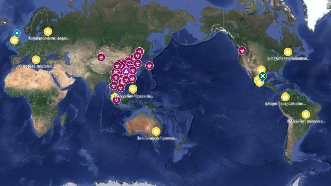 El mapa muestra los casos confirmados, sospechosos y descartados a nivel mundial.