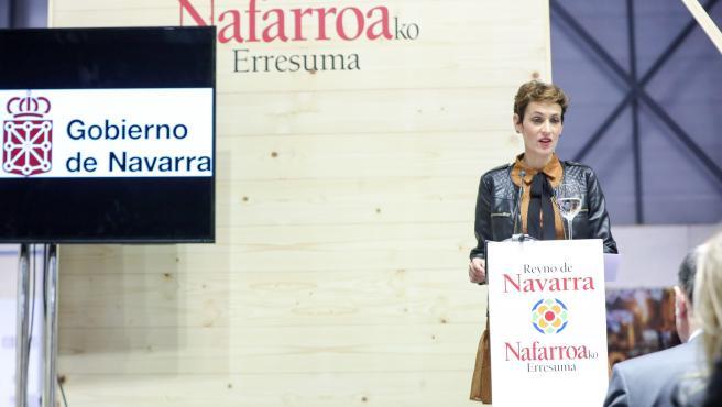 La presidenta de Navarra, María Chivite, interviene en el pabellón de la región durante la celebración del Día de Navarra en la Feria Internacional de Turismo, Fitur 2020 durante su tercera jornada, en Madrid (España), a 24 de enero de 2020.