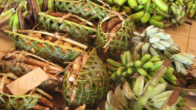 Platanos recogidos en Vanuatu.