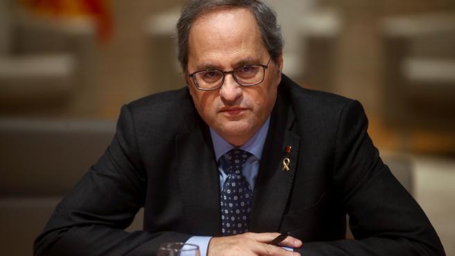 El presidente de la Generalitat, Quim Torra, durante una reunión con los consellers.