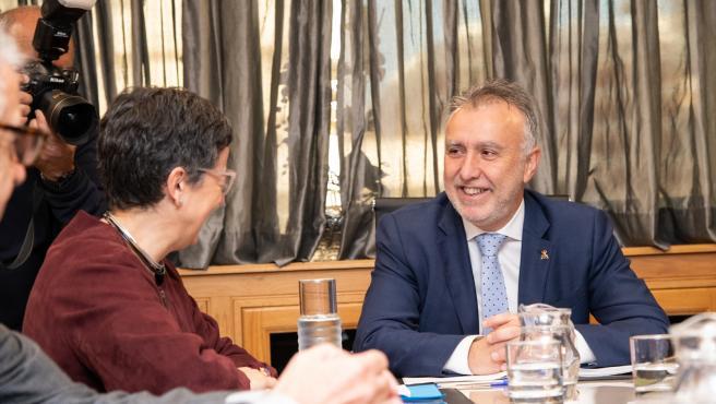 La ministra de Asuntos Exteriores, Unión Europea y Cooperación, Arancha González Laya, se reúne con el presidente del Gobierno de Canarias, Ángel Víctor Torres, en la sede del Gobierno en Las Palmas de Gran Canaria