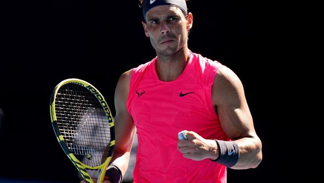 Nadal, durante su partido contra Carreño del Open de Australia.