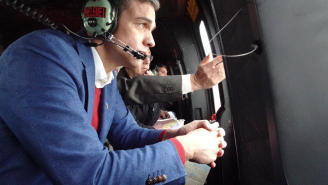 Pedro Sánchez sobrevuela Murcia tras el paso de la borrasca Gloria