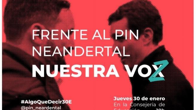 Cartel de las concentraciones que el colectivo de estudiantes 'Algo que decir' ha convocado el jueves 30 de enero contra el 'pin parental' en Madrid, Andalucía y Murcia.