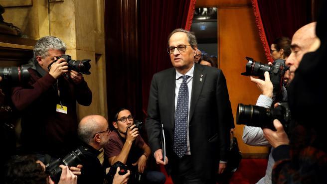 Quim Torra, a su llegada al pleno monográfico en el Parlament.
