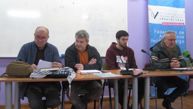 Los portavoces de la CUT, el Sindicato Ferroviario, el Sindicato de Estudiantes y la Confederación General del Trabajo (CGT), durante la rueda de prensa