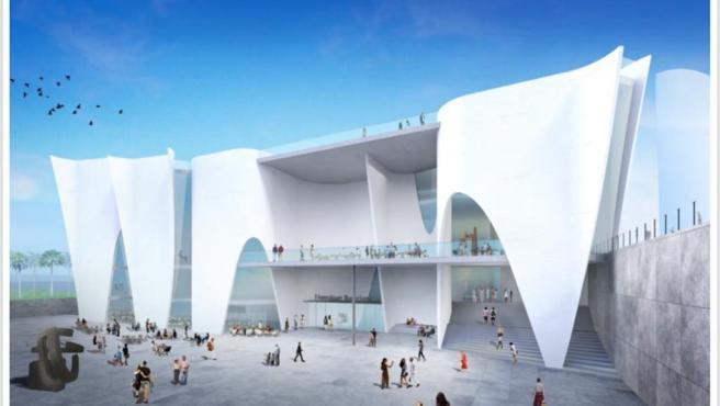 Proyecto del museo Hermitage (proyecto de Toyo Ito) en la Nueva Bocana del Puerto de Barcelona