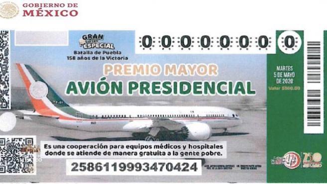 Imagen de la papeleta para el sorteo del avión presidencial mexicano.
