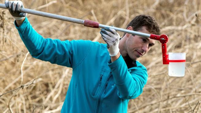 El biólogo Carlos Ciudad, técnico de SEO/BirdLife, toma muestras de agua, tierra y sedimentos de la IBA (Áreas Importantes para la Conservación de las Aves y la Biodiversidad) Galachos y Riberas del Ebro (Zaragoza).