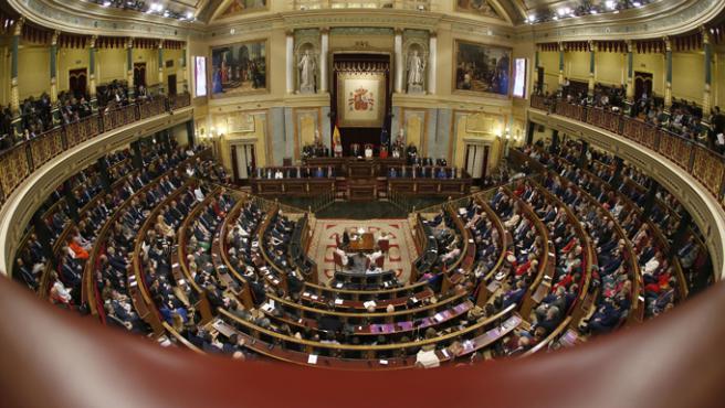 Vista general del hemiciclo del Congreso de los Diputados durante el pleno de apertura de la XIV Legislatura.