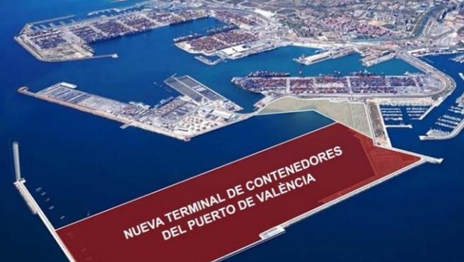Espacio en el que está prevista la ampliación norte del Puerto de València
