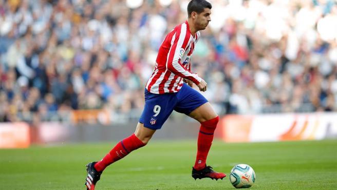Morata, durante el derbi en el Bernabéu.
