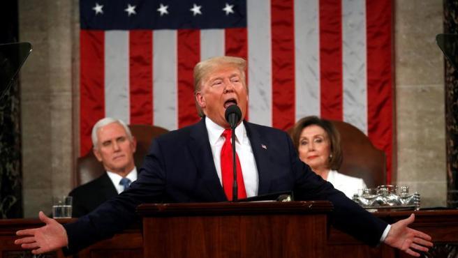El presidente de Estados Unidos, durante su discurso sobre el estado de la Unión, en el Capitolio, en Washington.