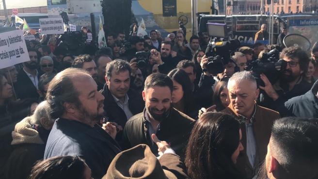 Santiago Abascal, en la protesta de los Agricultores.
