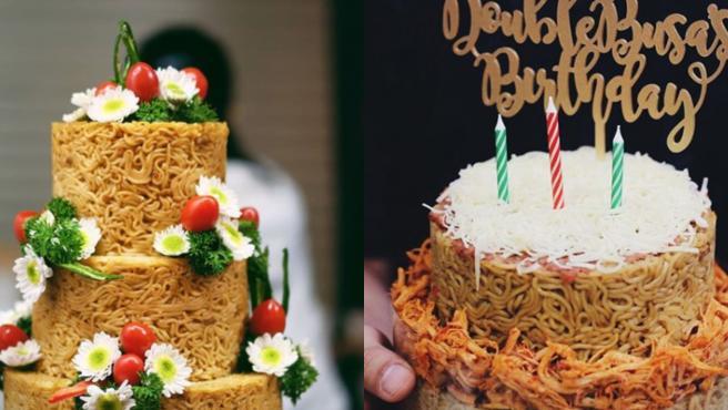 Tartas de boda y cumpleaños hechas con noddles.