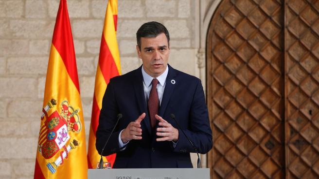 Pedro Sánchez comparece tras su reunión con Quim Torra.