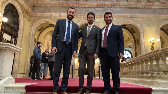 El presidente de la ACM, Lluís Soler, el conseller Damià Calvet y el vicepresidente de Territorio Digital y Sostenibilidad de la endidad, Sergi Pedret