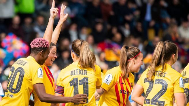 Las jugadoras del Barça celebran un gol en la final de la Supercopa femenina.