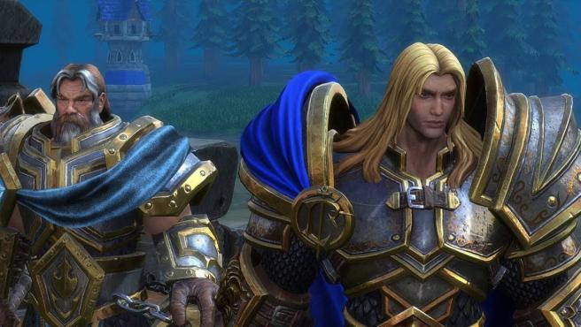 Uther y Arthas en 'Warcraft III: Reforged'.