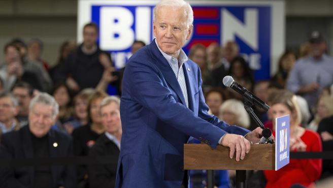 El vicepresidente de EE UU y precandidato demócrata Joe Biden, en New Hampshire.