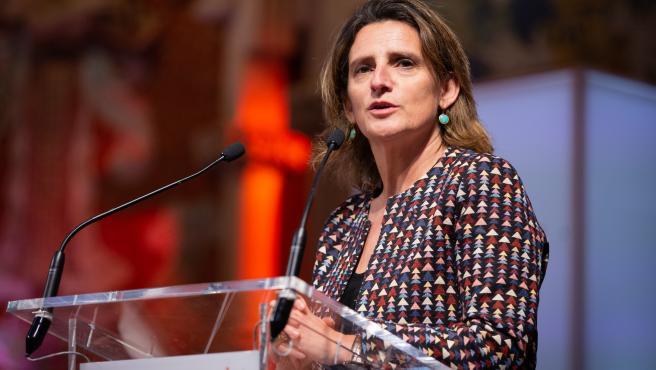 La vicepresidenta de Transición Ecológica, Teresa Ribera interviene en la presentación del BforPlane, en Barcelona (España), a 30 de enero de 2020.