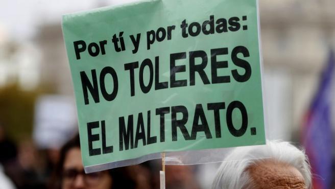 Pancarta sobre el maltrato en una manifestación.