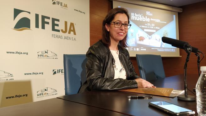África Colomo, presidenta del Consejo de Administración de Ferias Jaén, durante la presentación.